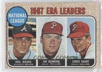 National League 1967 ERA Leaders (Phil Niekro, Jim Bunning, Chris Short)