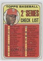 2nd Series Checklist (Bob Gibson) (Error: 161 listed as Jim Purdin) [Poor]
