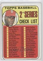 2nd Series Checklist (Bob Gibson) (Error: 161 listed as Jim Purdin) [Good …