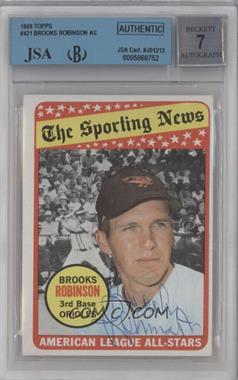 1969 Topps #421 - Brooks Robinson [BGS/JSACertifiedAuto]