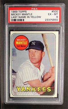 1969 Topps #500.1 - Mickey Mantle (Last Name in Yellow) [PSA 6]