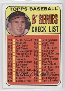 1969 Topps #504 - 6th Series Checklist (Brooks Robinson)
