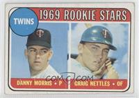 Twins Rookie Stars (Danny Morris, Graig Nettles) (Black Loop Above Twins Logo) …