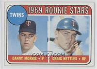 Twins Rookie Stars (Danny Morris, Graig Nettles) (Black Loop Above Twins Logo)