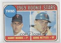 Twins Rookie Stars (Danny Morris, Graig Nettles) (Error: Black Loop Above Twins)