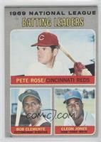 National League Batting Leaders (Pete Rose, Roberto Clemente, Cleon Jones)