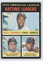 American League Batting Leaders (Alex Johnson, Carl Yastrzemski, Tony Oliva) [P…