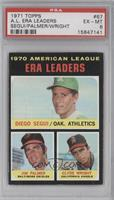 American League ERA Leaders (Diego Segui, Jim Palmer, Clyde Wright) [PSA 6]