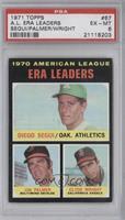 American League ERA Leaders (Diego Segui, Jim Palmer, Clyde Wright) [PSA6]