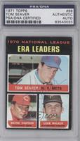 National League ERA Leaders (Tom Seaver, Wayne Simpson, Luke Walker) [PSA/DNA&n…