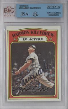 1972 Topps #52 - Harmon Killebrew (In Action) [BVG/JSA Certified Auto]