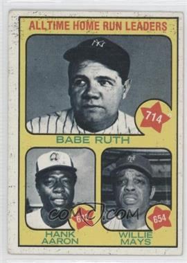 1973 Topps - [Base] #1 - All Time Home Run Leaders (Babe Ruth, Hank Aaron, Willie Mays)