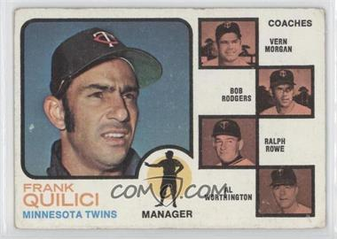 1973 Topps - [Base] #49.2 - Twins Coaches (Frank Quilici, Vern Morgan, Bob Rodgers, Ralph Rowe, Al Worthington) (Trees in Coaches Backround)