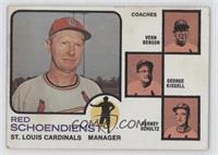 Red Schoendienst, Vern Benson, George Kissell, Barney Schultz (brown background)