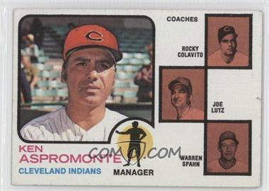 1973 Topps #449.1 - Ken Aspromonte, Rocky Colavito, Warren Spahn, Joe Lutz (orange background) [Good to VG‑EX]