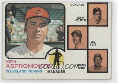 1973 Topps #449.1 - Ken Aspromonte, Rocky Colavito, Warren Spahn, Joe Lutz (orange background)