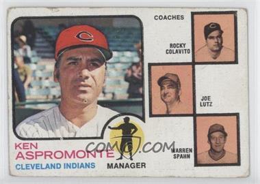 1973 Topps #449.1 - Ken Aspromonte, Rocky Colavito, Warren Spahn, Joe Lutz (orange background) [GoodtoVG‑EX]