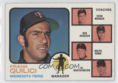 1973 Topps #49.1 - Twins Coaches (Frank Quilici, Vern Morgan, Bob Rodgers, Ralph Rowe, Al Worthington) (Solid Backround)