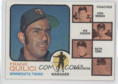 1973 Topps #49.2 - Twins Coaches (Frank Quilici, Vern Morgan, Bob Rodgers, Ralph Rowe, Al Worthington) (Trees in Coaches Backround)