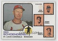 Vern Benson, George Kissell, Barney Schultz, Red Schoendienst (orange backgroun…