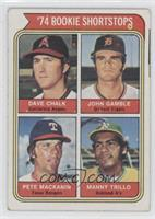 '74 Rookie Shortstops (Dave Chalk, John Gamble, Pete Mackanin, Manny Trillo) [G…