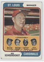 Cardinals Coaches (Red Schoendienst, Barney Schultz, George Kissell, Johnny Lew…