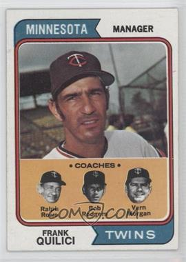 1974 Topps #447 - Twins Coaches (Frank Quilici, Ralph Rowe, Vern Morgan, Buck Rodgers)