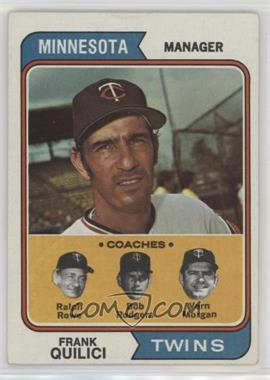 1974 Topps #447 - Twins Coaches (Frank Quilici, Ralph Rowe, Vern Morgan, Buck Rodgers) [GoodtoVG‑EX]