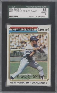 1974 Topps #473 - '73 World Series Game #2 (Willie Mays) [SGC 88]