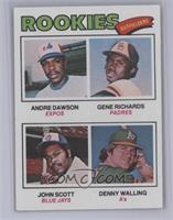 Rookie Outfielders (Andre Dawson, Gene Richards, John Scott, Denny Walling) [Ne…