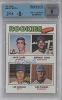 Jack Clark, Ruppert Jones, Dan Thomas [BGS/JSA Certified Auto]