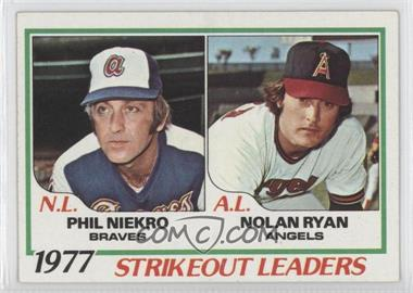 1978 Topps - [Base] #206 - Strikeout Leaders (Phil Niekro, Nolan Ryan)