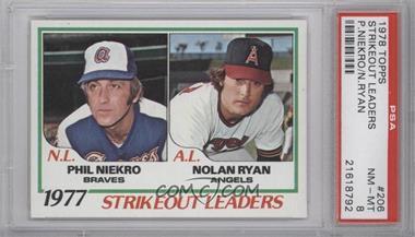 1978 Topps - [Base] #206 - Strikeout Leaders (Phil Niekro, Nolan Ryan) [PSA8]