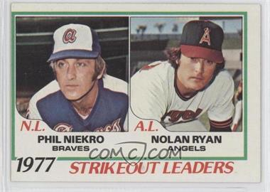1978 Topps #206 - Strikeout Leaders (Phil Niekro, Nolan Ryan)