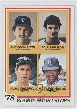 1978 Topps #707 - Rookie Shortstops (Paul Molitor, Alan Trammell, Mickey Kluts, U.L. Washington)