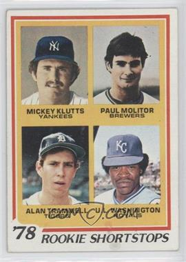 1978 Topps #707 - Rookie Shortstops (Paul Molitor, Alan Trammell, Mickey Kluts, U.L. Washington) [Good to VG‑EX]