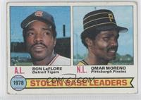 Stolen Base Leaders (Ron LeFlore, Omar Moreno) [Good to VG‑EX]