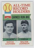 Walter Johnson, Dutch Leonard