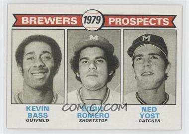 1979 Topps #708 - Brewers Prospects (Kevin Bass, Eddie Romero, Ned Yost)