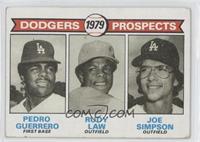 Dodgers Prospects (Pedro Guerrero, Rudy Law, Joe Simpson) [Good to VG…