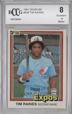 1981 Donruss #538 - Tim Raines [ENCASED]