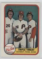 Triple Threat (Mike Schmidt, Pete Rose, Larry Bowa) (Number on Back) [Good&nbsp…