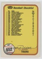 Checklist (Detroit Tigers, San Diego Padres) (Error: Last Number on Front is #4…
