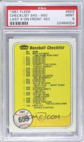 Checklist (Last Number on Front is #483) [PSA9]