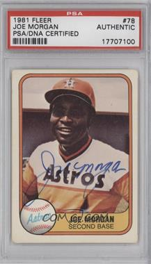 1981 Fleer - [Base] #78 - Joe Morgan [PSA/DNA Certified Auto]