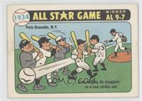 Five mighty AL sliggers in a row strike out (Carl Hubbell)