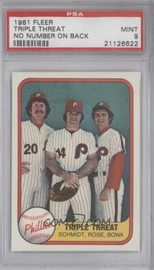1981 Fleer #645.1 - Triple Threat (Mike Schmidt, Pete Rose, Larry Bowa) (No Number on Back) [PSA9]