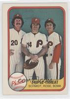Triple Threat (Mike Schmidt, Pete Rose, Larry Bowa) (No Number on Back)