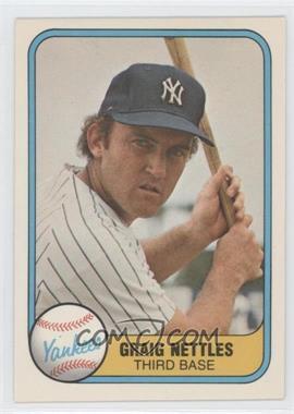 """1981 Fleer #87.1 - Graig Nettles (error: name misspelled """"Craig"""" on back)"""