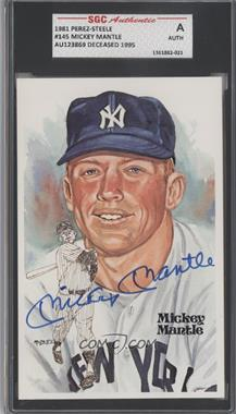 1981 Perez-Steele Hall of Fame Art Postcards Fifth Series #145 - Mickey Mantle /10000 [SGC AUTHENTIC]